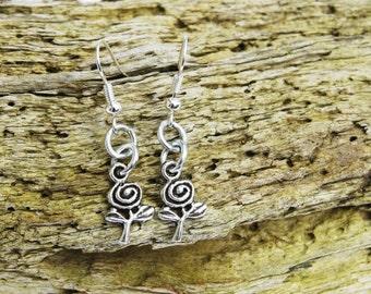 Stem rose  silver  earrings