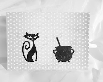 less than half price clearance sale Back cat & cauldron  grey halloween card