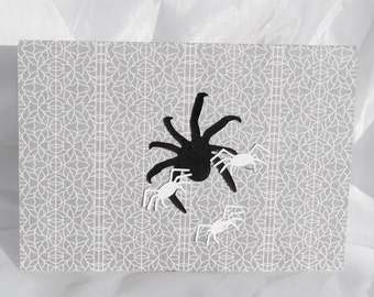 half price clearance sale spider & white spiders  grey halloween card