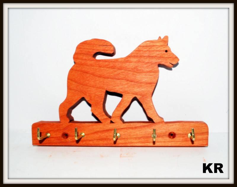 Dog Husky Plaque Key Rack Leash Holder 10 In5 Hooks Etsy