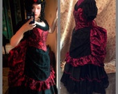 Victorian dress Bustle Dress Damask dress Vampire gown Gothic dress Steampunk wedding steampunk dress ballgown custom size many color choic