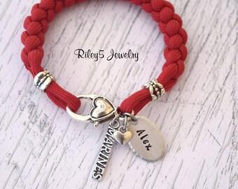 Personalized Marine Wife Bracelet / Marine Girlfriend / Marine Mom I love my Soldier - Military Jewelry - Deployment Jewelry