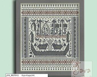Kain Kapal #4 Ship Cloth Traditional Lampung Motif - PDF Cross Stitch Chart
