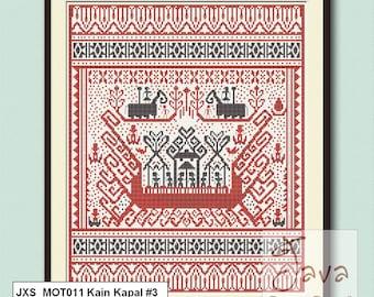 Kain Kapal #3 Ship Cloth Traditional Lampung Motif - PDF Cross Stitch Chart