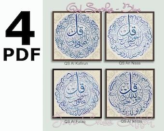 4 PDF of  4 Qul Surahs (Al Falaq, Al Kafirun, An Naas, Al Ikhlas) in Blue Color Instant Download PDF Islamic Cross Stitch Charts