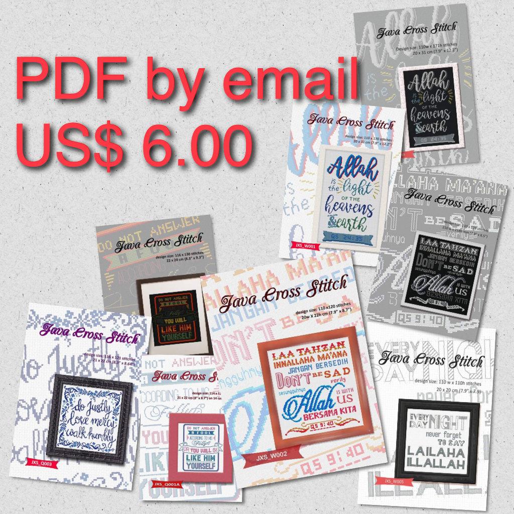 Single PDF cross stitch pattern by email - Six Dollars USD - Java Cross  Stitch
