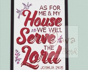 Bible Verse Joshua 24: 15 Instant Download PDF Modern Cross Stitch Pattern