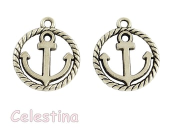 Antique Bronze Ships Anchor /& Chain Charms Pirate 32mm x 27mm NF LF CF TS385