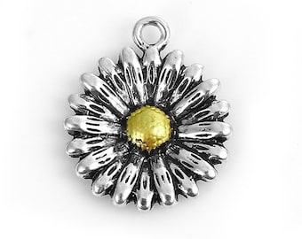 4 Antique Silver Sunflower Charms 24mm Flower Charms Daisy Pendants Summer