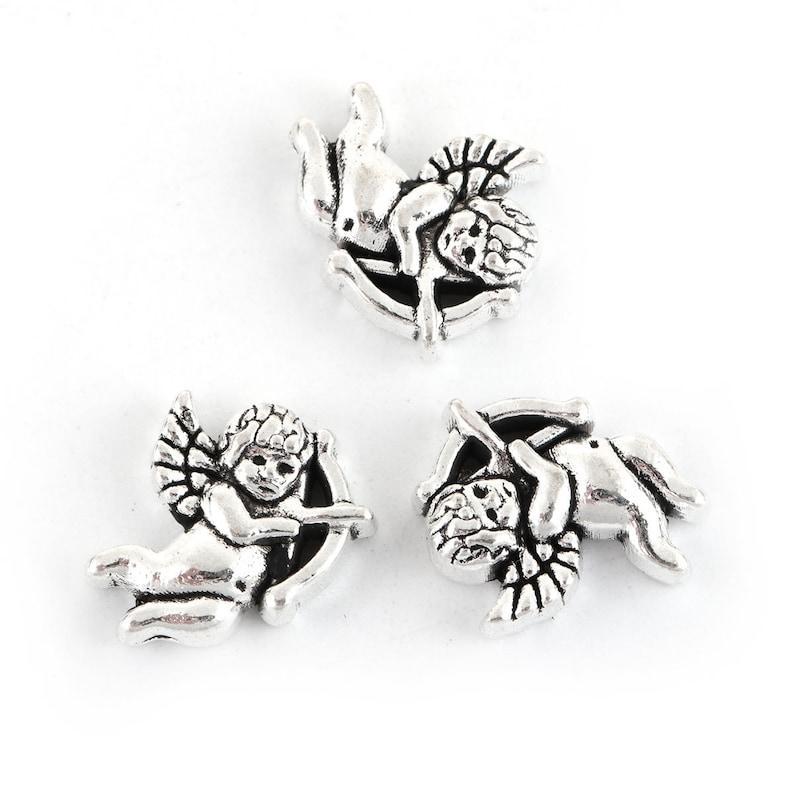 10 x Tibetan Silver ANGEL WITH HALO /& HEART CHRISTMAS Charms Pendants Beads
