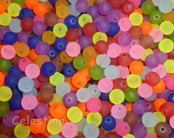50 x 8MM Multi Colour Round Glass Beads - Frosted Mixed Colours Neon Brights GB63