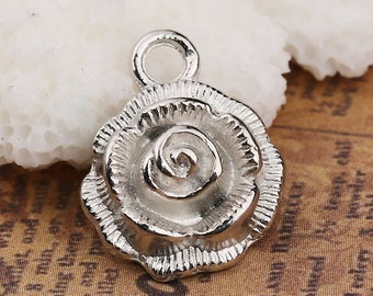 5 x Rose Charms - Antique Silver Flowers - Roses Charms - Single Rose Charms - 17mm x 14mm - TS205B