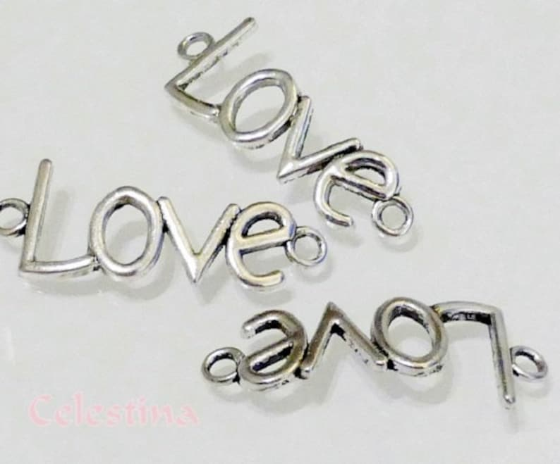 10 x Tibetan Alloy Love Heart Links//Connectors