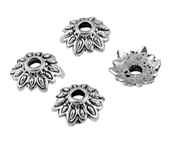 BC48 20 Antique Silver Bead Caps Shell Bead Cones Sea Theme 11mm x 13mm
