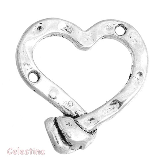 12mm x 10mm Valentine 10 Hearts Charms Love Antique Silver