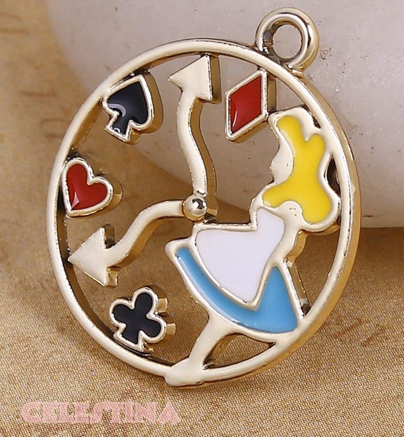 Keys Pendants 25 x Antique Bronze Alice In Wonderland Key Charms