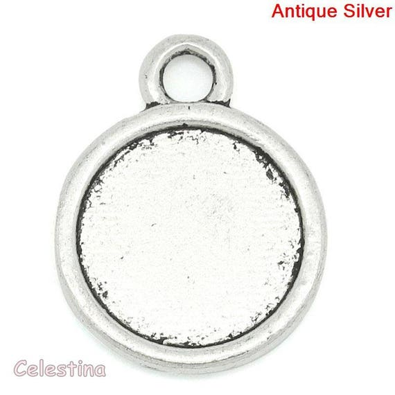 10 Round Silver Cabochon Connector Settings Bezel Trays 20mm x 14mm inner 12mm