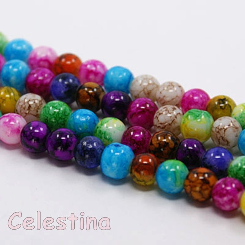 50 x 8mm Mixed Acrylic Round Beads Colourful