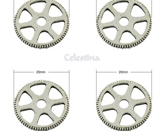 10 x Tibetan Silver Cog Wheel Charms - Watch Parts Gears - Victoriana Steampunk Charms - LF 20mm - TS331