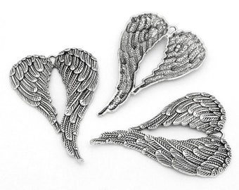 1 x Large Angel Wing Charms Pendant Antique Silver - Double Wings  69mm TS399