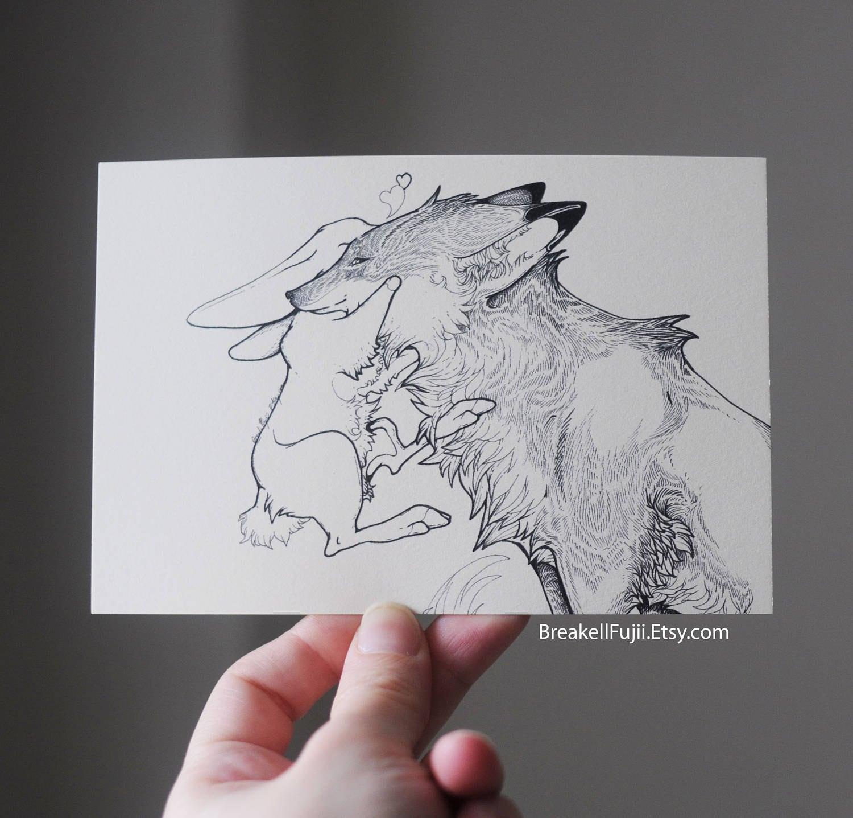 Zorro y conejo dibujo Fox y Bunny postal Fox y arte