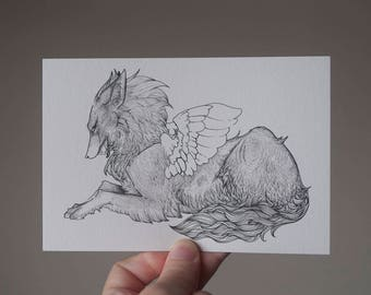 Winged Wolf Drawing, Wolf Lying Down, Wolf Postcard, Fantasy Wolf Art, Fantasy Postcard, Fantasy Wolf Illustration, Black and White Wolf