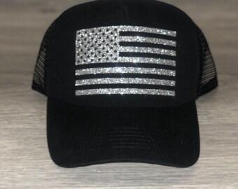 9cf28483 American flag Trucker Hat Patriotic trucker hat United States flag trucker  hat USA trucker hat cute hats cute trucker hats Merica hat