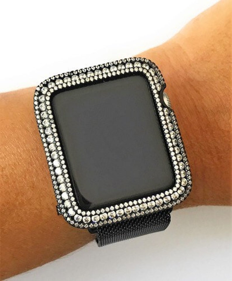 new style 1b92d 1c7ab EMJ Apple Watch Case Black Zirconia with clear stones Bling Apple Watch  Case Series 3 Apple Watch 38mm 42mm