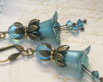 FORGET-ME-NOT Lucite Lily Flower Earrings, Hand Painted Earrings, Swarovski, Victorian Earrings, Handmade, Blue, Aqua, Wedding, Ravengirl