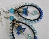 BUDS BLOSSOMS Beaded Wire Wrap Hoop Earrings, Blue Flower Earrings, Long Dangle Earrings, Vintage Style, Lucite Flower Earrings, Ravengirl