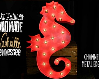 Marquee sign, marquee letter, Lighted Metal MARQUEE SIGN, Marquee Light: SEAHORSE Shown in Lilly Pullitzer Style Pink