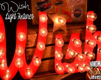 "Lighted Metal MARQUEE SIGN Marquee Light Fixture: Holiday ""WISH"" sign 29"""