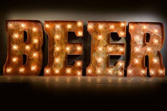 beer marquee sign custom signs marquee light wedding sign etsy