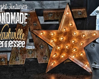 Marquee Star, Lighted Metal MARQUEE SIGN, Marquee Letter,  Marquee Light Fixture: Golden Bronze Star