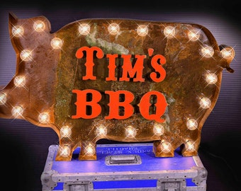 Customizable Marquee Pig Sign, BBW Marquee Sign, Marquee Letter Fixture: Marquee Lighted Metal Customized Marquee Pig