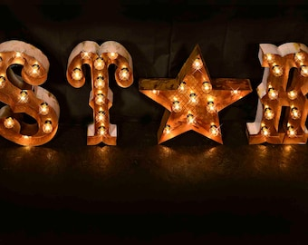"Marquee letter, marquee light, carnival letter, wedding sign, Lighted MARQUEE SIGN, Marquee Letter Fixture: Vintage Style ""STAR"" marquee"