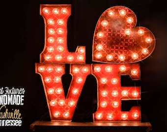 Love Marquee Package, Marquee letter, marquee light, wedding sign, Lighted MARQUEE SIGN, Marquee Letter: Vintage Style LOVE marquee sign