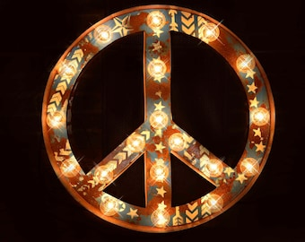 Peace Sign, Marquee Letter, Marquee Sign, Marquee Star, Lighted Metal MARQUEE SIGN, Marquee Letter, Marquee Light Fixture: Peace Sign