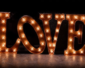 "36"" Love Marquee Package, Marquee letter, Marquee light, Wedding sign, Lighted MARQUEE SIGN, Marquee Letter: LOVE Old Book Font"