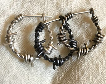 3321d74ba72ae1 Small Sized Sterling Silver Barbed Wire Earring - Men/Women - Single or  Pair - Custom Made - Closed Hoop