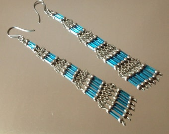 Extra Long 4 1/2 in. Blue & Silver Beaded Earrings - ReCreated Vintage/Fashion Jewelry