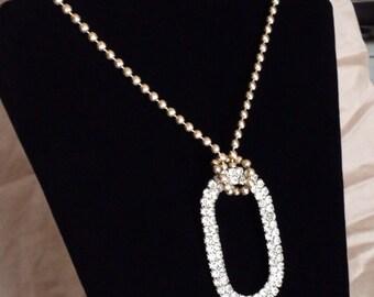 Large Diamond/Rhinestone Pendant on a Vintage Chain - ReCreated Jewelry
