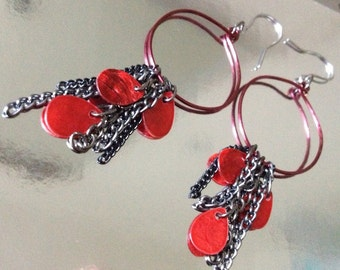 """New """"Red Tide"""" Earrings - Hoops with shells & chains"""