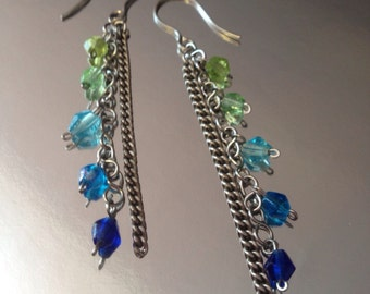 """New """"Blue Tide"""" Long Chain Earrings with Ocean Toned Glass Beads"""