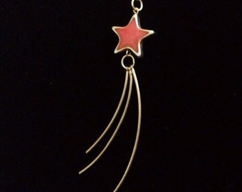 Shooting Star Dangle Necklace - Red & Gold - ReCreated Jewelry