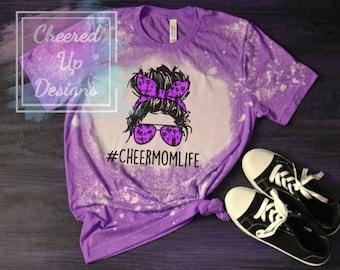 Custom Bleached Cheer Mom Life Tee