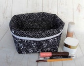 Black White Storage Basket. Small Monochrome Floral Fabric Bin for Jewellery, Trinkets, Hair Accessories, Make Up, Beauty Items or Keys.