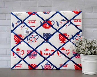kitchen memo board, fabric notice board, red blue and white, vintage tea cup print, 40 x 50 cm, handmade