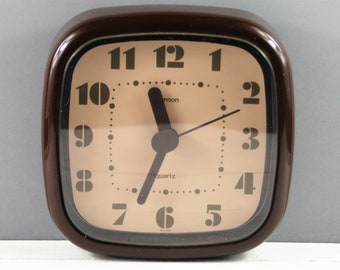Retro Wall Clock by Hanson. 1970's  Brown and Beige Plastic Wall Clock, Quartz. Made in Ireland.
