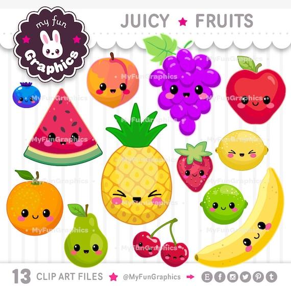 juicy fruits kawaii clip art fruits cute clipart cute fruits etsy